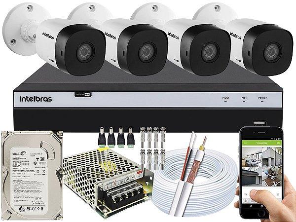 Kit CFTV Intelbras 04 Câmeras VHD 1120 B G5 e DVR de 04 Canais MHDX 3104 500GB