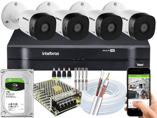 Kit CFTV Intelbras 04 Câmeras VHD 1120 B G5 e DVR de 08 Canais MHDX 1108