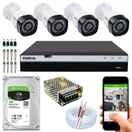 Kit CFTV Intelbras 04 Câmeras VHD 1220 B G4 e DVR de 04 Canais MHDX 3104
