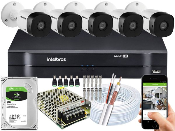 Kit CFTV Intelbras 05 Câmeras VHD 1010 B G5 e DVR de 08 Canais MHDX 1108