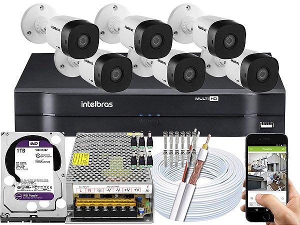 Kit CFTV Intelbras 06 Câmeras VHD 1010 B G5 e DVR de 08 Canais MHDX 1108 1TB WD Purple 10A