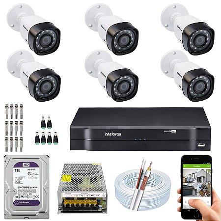 Kit CFTV Intelbras 06 Câmeras VHD 1220 B G4 e DVR de 08 Canais MHDX 1108 1TB WD Purple 10A