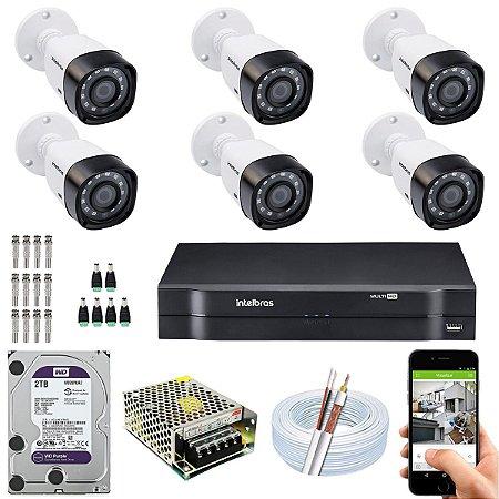 Kit CFTV Intelbras 06 Câmeras VHD 1220 B G4 e DVR de 08 Canais MHDX 1108 2TB WD Purple