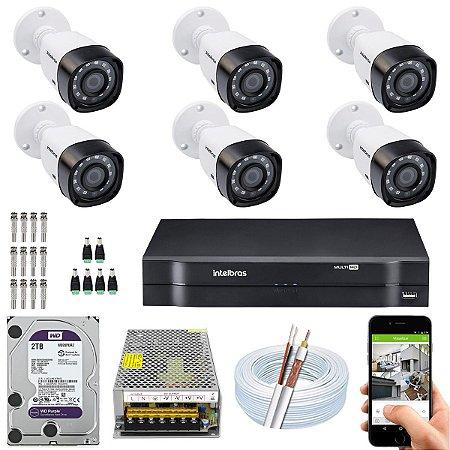 Kit CFTV Intelbras 06 Câmeras VHD 1220 B G4 e DVR de 08 Canais MHDX 1108 2TB WD Purple 10A