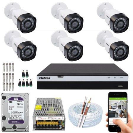 Kit CFTV Intelbras 06 Câmeras VHD 1220 B G4 e DVR de 08 Canais MHDX 3108 2TB WD Purple 10A