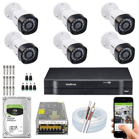 Kit CFTV Intelbras 06 Câmeras VHD 3130 B G4 e DVR de 08 Canais MHDX 1108 10A