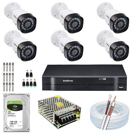 Kit CFTV Intelbras 06 Câmeras VHD 3230 B G4 e DVR de 08 Canais MHDX 1108