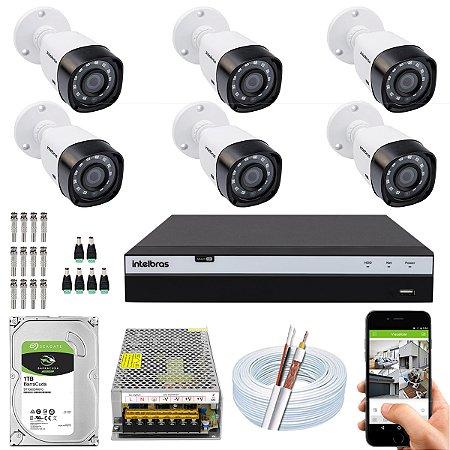 Kit CFTV Intelbras 06 Câmeras VHD 3230 B G4 e DVR de 08 Canais MHDX 3108 10A