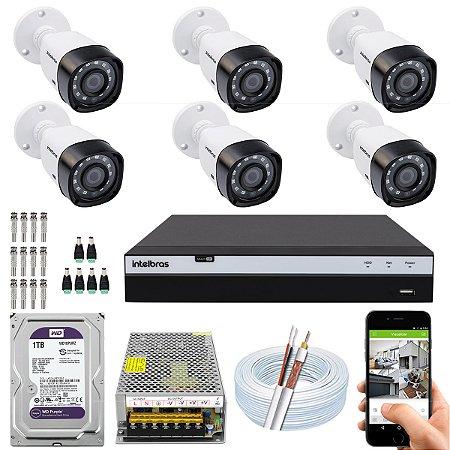 Kit CFTV Intelbras 06 Câmeras VHD 3230 B G4 e DVR de 08 Canais MHDX 3108 1TB WD Purple 10A