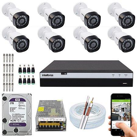 Kit CFTV Intelbras 08 Câmeras VHD 1220 B G4 e DVR de 08 Canais MHDX 3108 2TB WD Purple