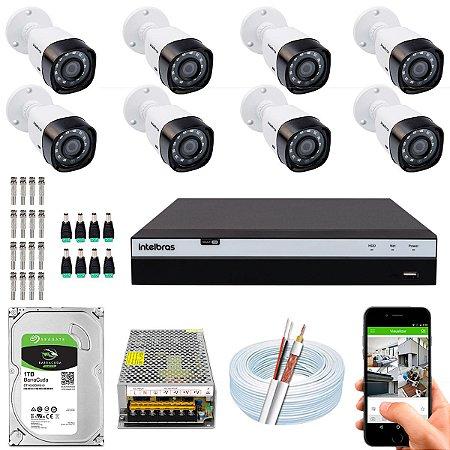 Kit CFTV Intelbras 08 Câmeras VHD 1220 B G4 e DVR de 16 Canais MHDX 3116