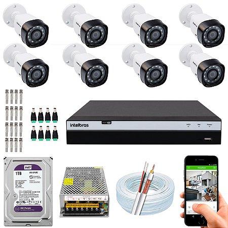 Kit CFTV Intelbras 08 Câmeras VHD 3230 B G4 e DVR de 08 Canais MHDX 3108 1TB WD Purple