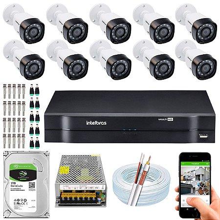 Kit CFTV Intelbras 10 Câmeras VHD 1220 B G4 e DVR de 16 Canais MHDX 1116