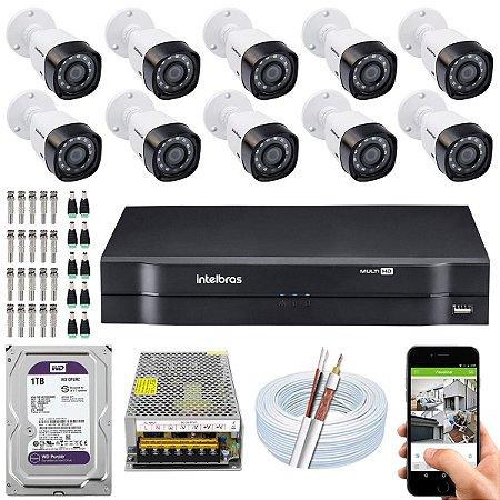 Kit CFTV Intelbras 10 Câmeras VHD 1220 B G4 e DVR de 16 Canais MHDX 1116 1TB WD Purple