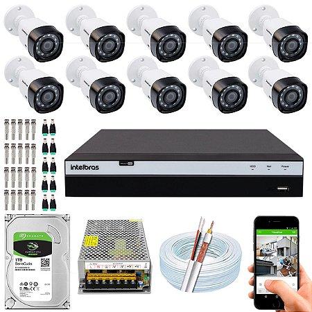 Kit CFTV Intelbras 10 Câmeras VHD 1220 B G4 e DVR de 16 Canais MHDX 3116
