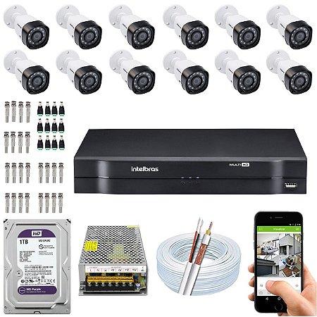 Kit CFTV Intelbras 12 Câmeras VHD 1220 B G4 e DVR de 16 Canais MHDX 1116 1TB WD Purple