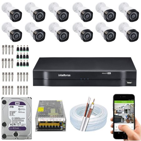 Kit CFTV Intelbras 12 Câmeras VHD 1220 B G4 e DVR de 16 Canais MHDX 1116 2TB WD Purple