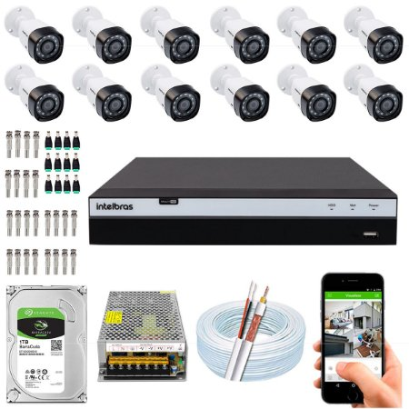 Kit CFTV Intelbras 12 Câmeras VHD 1220 B G4 e DVR de 16 Canais MHDX 3116