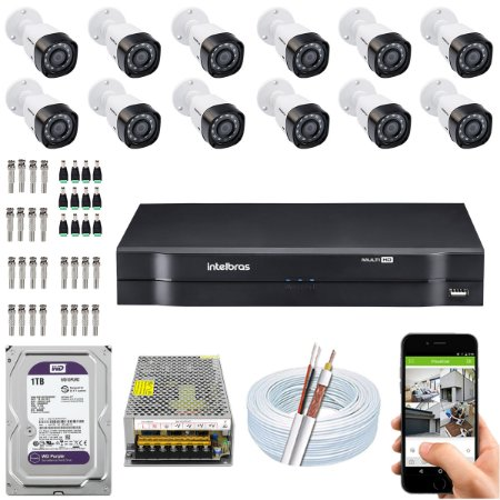 Kit CFTV Intelbras 12 Câmeras VHD 3230 B G4 e DVR de 16 Canais MHDX 1116 1TB WD Purple
