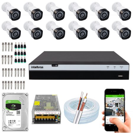 Kit CFTV Intelbras 12 Câmeras VHD 3230 B G4 e DVR de 16 Canais MHDX 3116