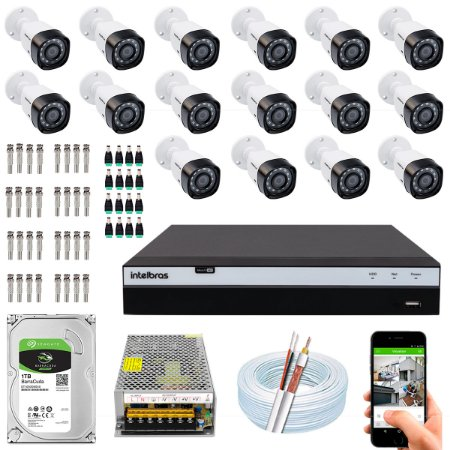 Kit CFTV Intelbras 16 Câmeras VHD 3230 B G4 e DVR de 16 Canais MHDX 3116