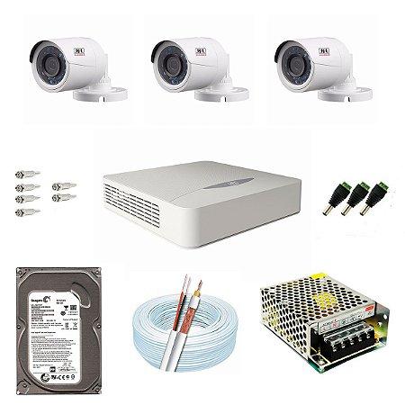 Kit CFTV JFL 03 Câmeras CHD-1130P e DVR de 04 Canais DHD-2104N