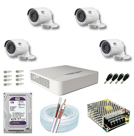 Kit CFTV JFL 04 Câmeras CHD-1130P e DVR de 04 Canais DHD-2104N 1TB WD Purple