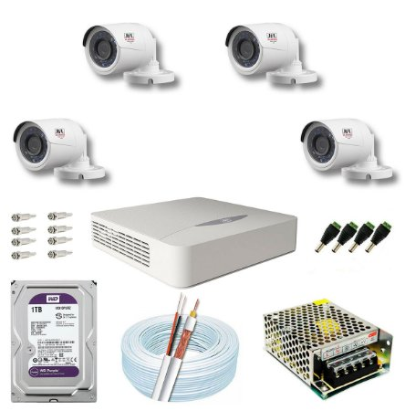 Kit CFTV JFL 04 Câmeras CHD-2230P e DVR de 04 Canais DHD-2104N 1TB WD Purple