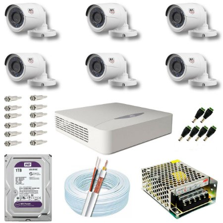 Kit CFTV JFL 06 Câmeras CHD-1130P e DVR de 08 Canais DHD-2108N 1TB WD Purple