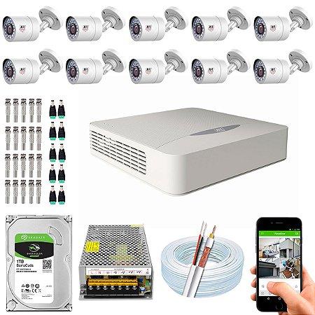 Kit CFTV JFL 10 Câmeras CHD-1110P e DVR de 16 Canais DHD-2116N