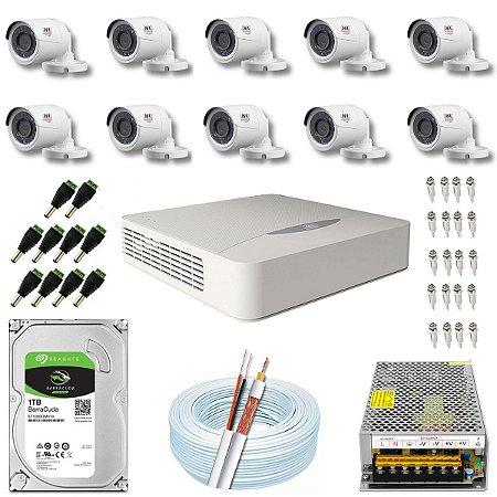 Kit CFTV JFL 10 Câmeras CHD-1130P e DVR de 16 Canais DHD-2116N