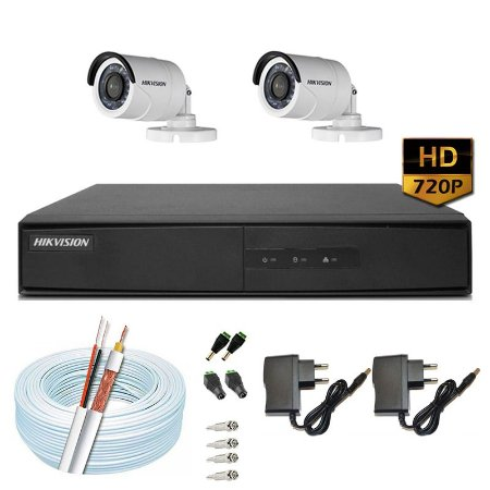 Kit CFTV Hikvision 02 Câmeras DS-2CE16C0T e DVR de 04 Canais DS-7204 S/ HD