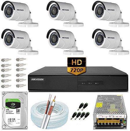 Kit CFTV Hikvision 06 Câmeras DS-2CE16C0T e DVR de 08 Canais DS-7208 10A
