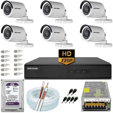 Kit CFTV Hikvision 06 Câmeras DS-2CE16C0T e DVR de 08 Canais DS-7208 1TB WD Purple 10A
