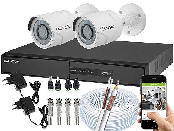 Kit CFTV Hikvision 02 Câmeras THC-B110C-P e DVR de 04 Canais DS-7204 Sem HD