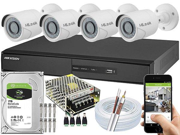 Kit CFTV Hikvision 04 Câmeras THC-B110C-P e DVR de 04 Canais DS-7204 1TB