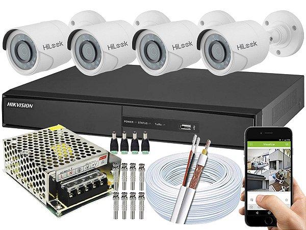 Kit CFTV Hikvision 04 Câmeras THC-B110C-P e DVR de 04 Canais DS-7204 S/ HD