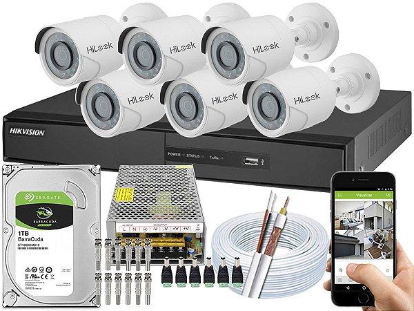 Kit CFTV Hikvision 06 Câmeras THC-B110C-P e DVR de 08 Canais DS-7208 10A