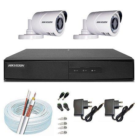 Kit CFTV Hikvision 02 Câmeras THC-B120C-P e DVR de 04 Canais DS-7204 S/ HD