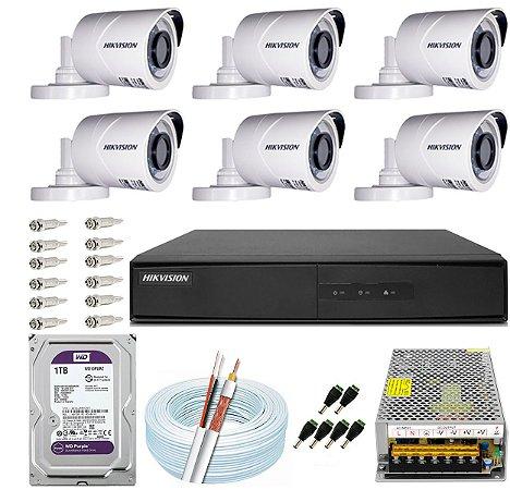 Kit CFTV Hikvision 06 Câmeras THC-B120C-P e DVR de 08 Canais DS-7208 1TB WD Purple 10A
