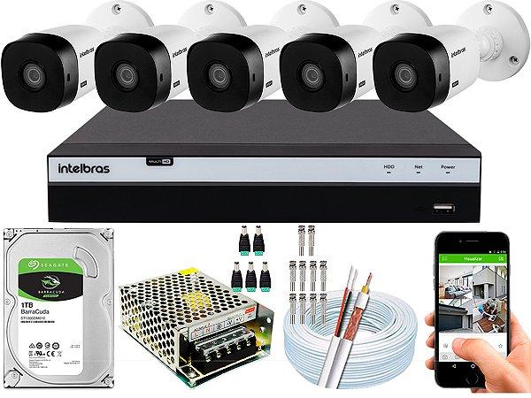 Kit CFTV Intelbras 05 Câmeras VHL 1220 B e DVR de 08 Canais MHDX 3108