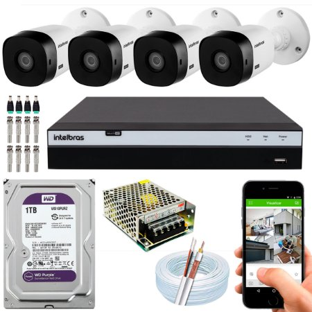 Kit CFTV Intelbras 04 Câmeras VHL 1220 B e DVR de 08 Canais MHDX 3108 1TB WD Purple