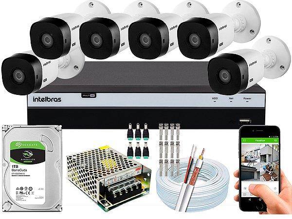 Kit CFTV Intelbras 06 Câmeras VHL 1220 B e DVR de 08 Canais MHDX 3108
