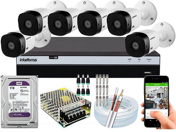Kit CFTV Intelbras 06 Câmeras VHL 1220 B e DVR de 08 Canais MHDX 3108 1TB WD Purple