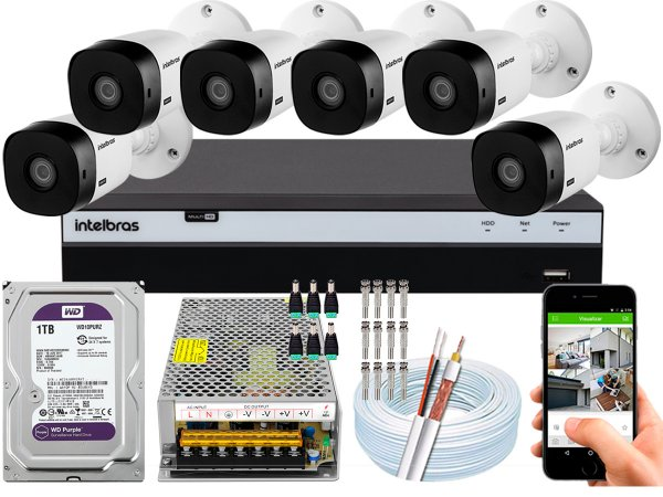 Kit CFTV Intelbras 06 Câmeras VHL 1220 B e DVR de 08 Canais MHDX 3108 1TB WD Purple 10A