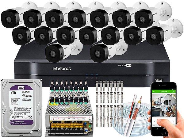 Kit CFTV Intelbras 16 Câmeras VHL 1220 B e DVR de 16 Canais MHDX 1116 1TB WD Purple