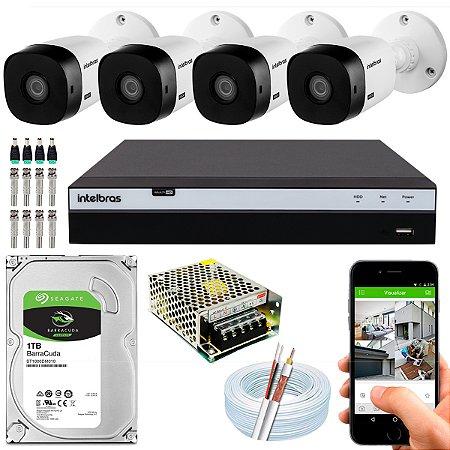 Kit CFTV Intelbras 04 Câmeras VHL 1120 B e DVR de 04 Canais MHDX 3104 1TB
