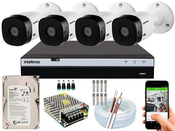 Kit CFTV Intelbras 04 Câmeras VHL 1120 B e DVR de 04 Canais MHDX 3104 500GB