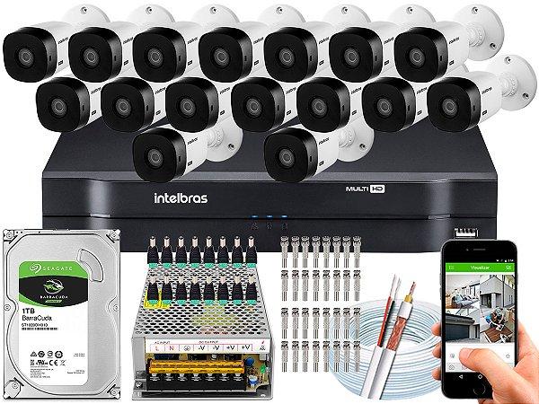 Kit CFTV Intelbras 16 Câmeras VHL 1120 B e DVR de 16 Canais MHDX 1116