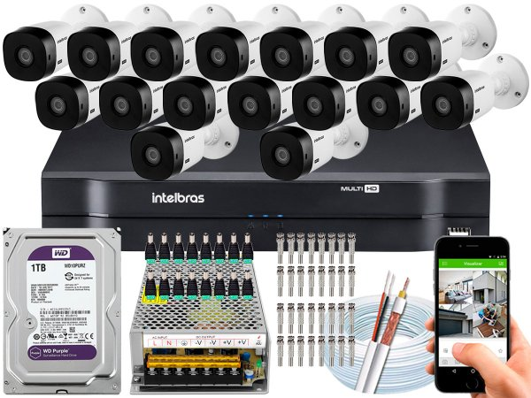 Kit CFTV Intelbras 16 Câmeras VHL 1120 B e DVR de 16 Canais MHDX 1116 1TB WD Purple